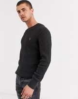 AllSaints waffle knit sweater with ramskull in gray marl