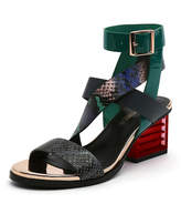 Jady Rose Women's Pumps Teal - Teal & Red Snake Stack-Heel Strappy Leather Sandals - Women