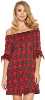 Quiz Red And Black Check Bardot Tunic Dress
