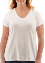 ST. JOHN'S BAY St. John's Bay Short-Sleeve V-Neck T-Shirt - Plus