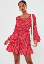 Missguided Red Floral Print Shirred Waist Tiered Mini Dress