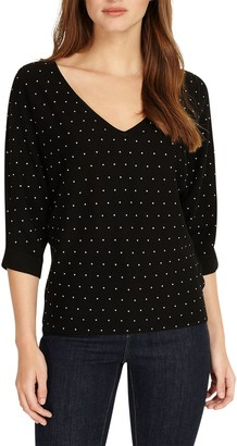 Phase Eight Stud Embellished Cristine Knit Top, Black