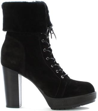 Daniel Mallory Black Suede Fur Trim Lace Up Ankle Boot