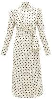 Alessandra Rich Gathered Polka Dot-print Silk-crepe Midi Dress - Womens - White Black
