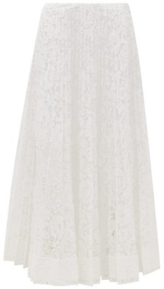 Valentino Pleated Lace Midi Skirt - White
