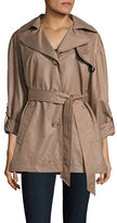 Ellen Tracy Chintz Trench Waist-Tie Coat