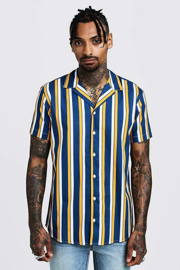 09f6876cb27f64 Vertical Striped Shirt Men Short Sleeve - ShopStyle