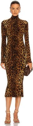 Norma Kamali Long Sleeve Turtleneck Fishtail Dress in Pantera | FWRD