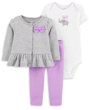 Child of Mine by Carter's Baby Girl Long Sleeve Cardigan, Short Sleeve Bodysuit & Pants, 3-Piece Outfit Set