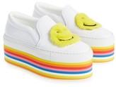 Joshua Sanders Women's Smile Genuine Rabbit Fur Platform Slip-On Sneaker