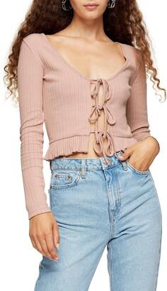 Topshop Lace-Up Crop Cardigan