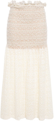 Stella McCartney Smocked Ruffle-trimmed Cotton-blend Lace Midi Skirt