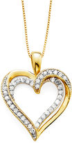 JCPenney FINE JEWELRY 1/4 CT. T.W. Diamond 10K Yellow Gold Openwork Double-Heart Pendant Necklace