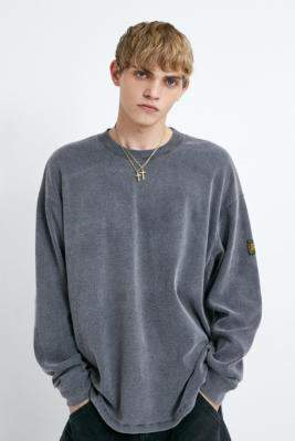 Urban Outfitters Long Gone Exclusive Acid Wash Ribbed Long-Sleeve T-Shirt - grey S at