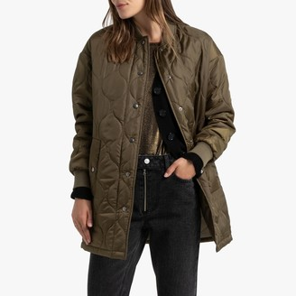 La Redoute Collections Long Lightweight Padded Bomber Coat with Pockets