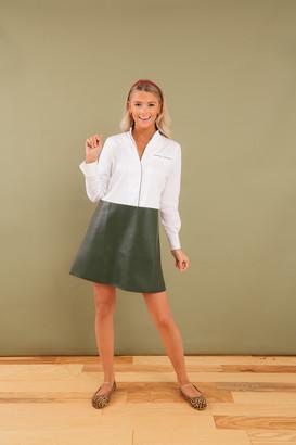 Hunter Green Leather Delfina Shirt Dress