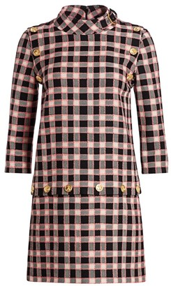 Gucci Fancy Tweed Damier Snap-Off Tunic Dress