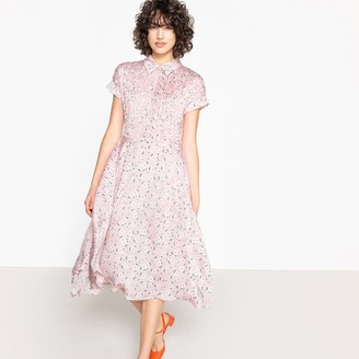 La Redoute Collections Pleated Floral Print Dress with Classic Collar