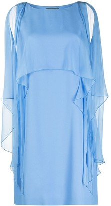 Alberta Ferretti Cape-Detail Short Dress