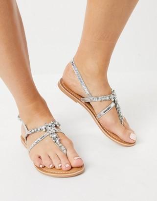 New Look metallic diamante sandals in silver
