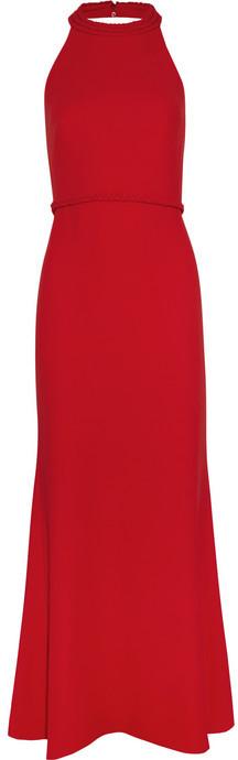 Valentino Braid-detailed silk-cady gown
