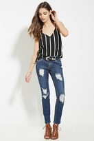 Forever 21 FOREVER 21+ Mid-Rise Distressed Skinny Jeans