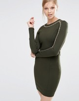 Forever Unique Etta Long Sleeve Bodycon Dress With Chain Detail
