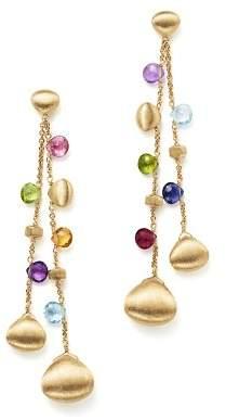 Marco Bicego 18K Yellow Gold Paradise Teardrop Long Double Strand Gemstone Earrings