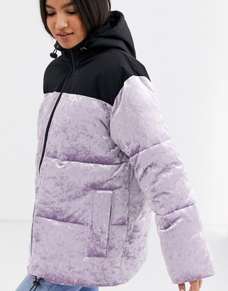ASOS DESIGN velvet panelled puffer jacket in lilac