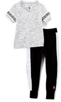 U.S. Polo Assn. Gray & Black V-Neck Tee & 'USPA' Joggers - Girls