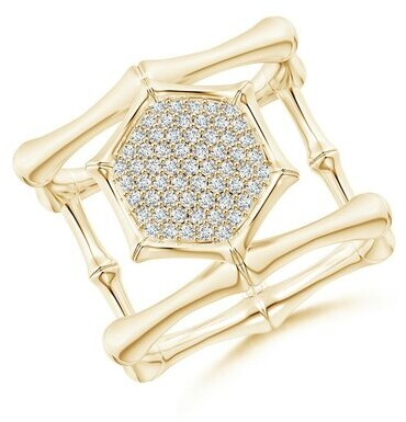 Thumbnail for your product : Natori Indochine 14k Pave Diamond Hexagon Center Double Bamboo Band Cocktail Ring
