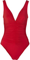 Karla Colletto Ruched Swimsuit - Red