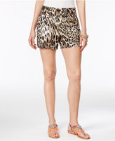 Thalia Sodi Printed Buckle-Detail Shorts, Only at Macy's