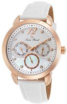 Lucien Piccard Women's 'Rivage' Quartz Stainless Steel and Leather Casual Watch, Color:White (Model: LP-40038-RG-02MOP-WHS)