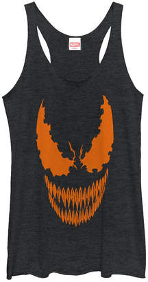 Fifth Sun Marvel Women Venom Tonal Orange Pumpkin Cut-Out Tri-Blend Tank Top