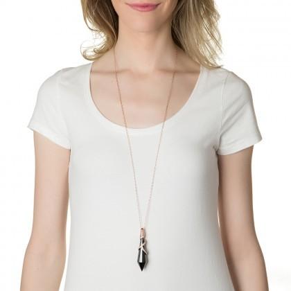 Rachel Zoe Faceted Jet Pendant Necklace