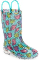 Western Chief 'Owl Woods' Light-Up Rain Boot (Toddler & Little Kid)