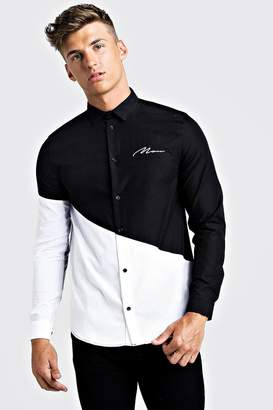 boohoo MAN Colour Block Long Sleeve Smart Shirt