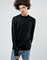 Asos Turtle Neck Jumper In Black Merino Wool