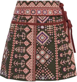 Ulla Johnson Shaia Embellished Cotton And Linen-blend Twill Wrap Mini Skirt