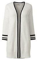 Lands' End Women's 3/4 Sleeve Drifter Open Cardigan Sweater-Black
