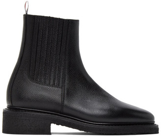 Thom Browne Black Crepe Sole Chelsea Boots