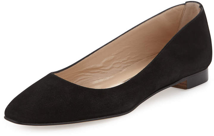 Manolo Blahnik Lee Tapered-Toe Suede Flat