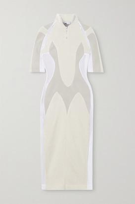 GmbH + Net Sustain Arwa Paneled Organic Cotton, Wool And Mesh Midi Dress