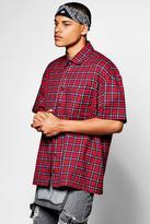 boohoo Short Sleeve Oversized Check Shirt red