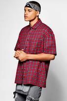 boohoo Short Sleeve Oversized Check Shirt