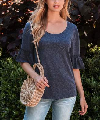Amaryllis Women's Tee Shirts NAVY - Navy Ruffle-Sleeve Scoop Neck Top - Women & Plus