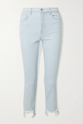 J Brand Ruby Cropped Distressed High-rise Slim-leg Jeans - Light denim