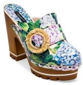 Dolce & Gabbana Raffia-Detail Hydrangea-Print Wooden Clogs