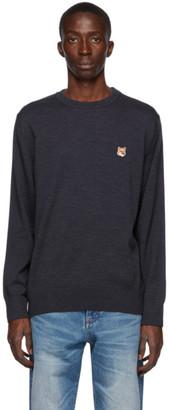 MAISON KITSUNÉ Navy Wool Fox Head Sweater
